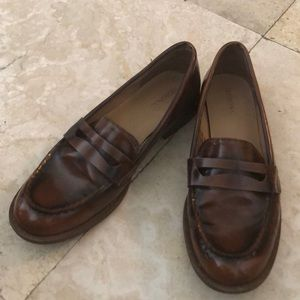 """Brown Faux Leather """"Penny Loafers"""" in 8M"""